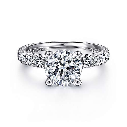 18k White Gold Round Straight Engagement Ring angle 1