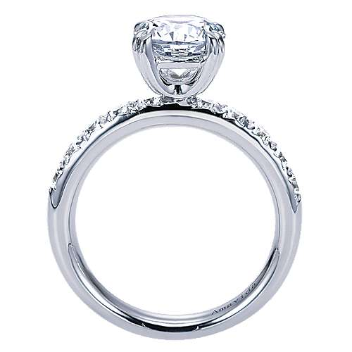 18k White Gold Round Straight Engagement Ring angle 2