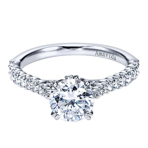 Gabriel - 18k White Gold Round Straight Engagement Ring