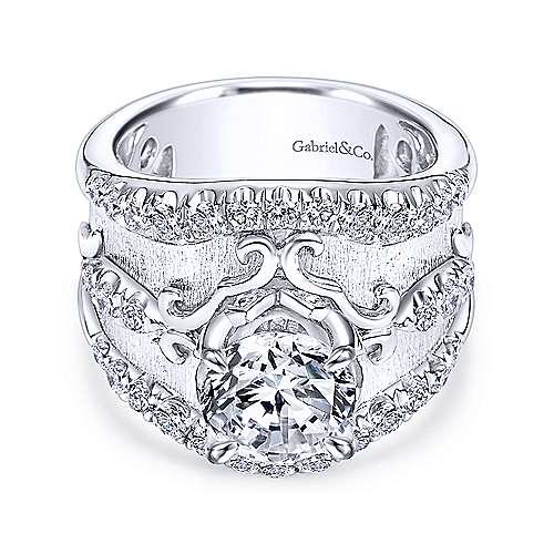 Gabriel - 18k White Gold Round Straight Engagement Ring