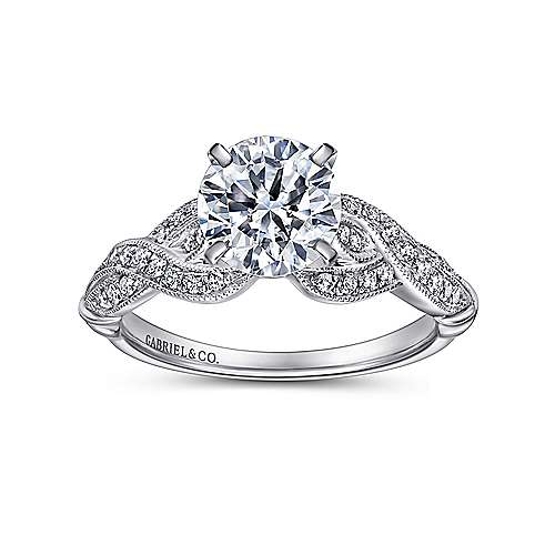 18k White Gold Round Twisted Engagement Ring angle 5