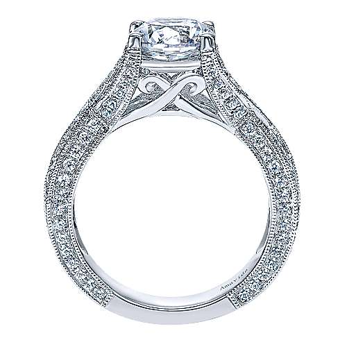 18k White Gold Round Twisted Engagement Ring angle 2