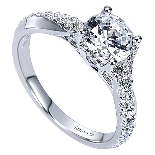 18k White Gold Round Twisted Engagement Ring angle 3