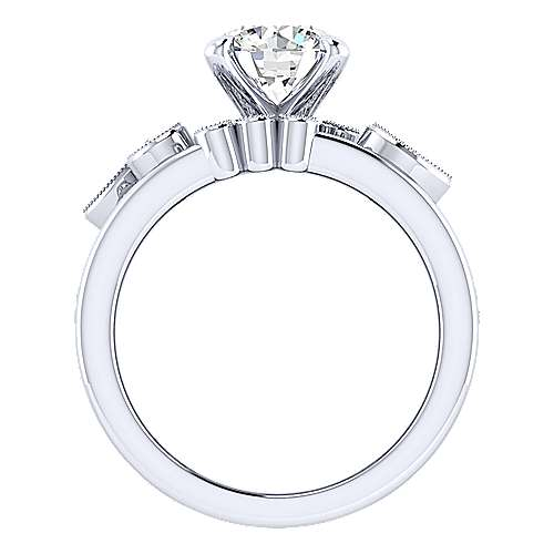 18k White Gold Round Wide Band Engagement Ring angle 2