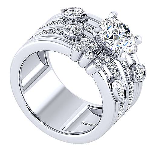 18k White Gold Round Wide Band Engagement Ring angle 3