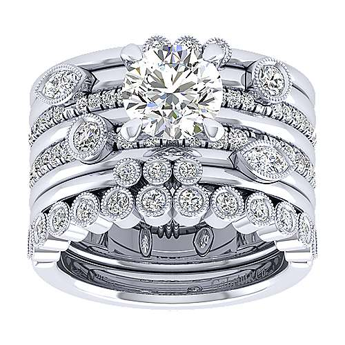 18k White Gold Round Wide Band Engagement Ring angle 4