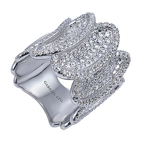 18k White Gold Silk Fashion Ladies' Ring angle 3