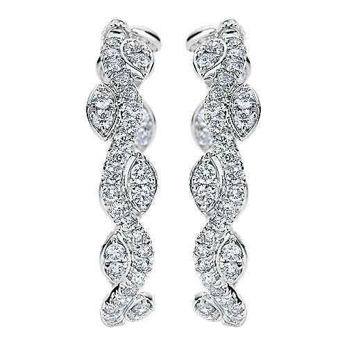 Gabriel - 18k White Gold Silk Intricate Hoop Earrings