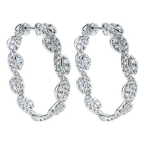 18k White Gold Silk Intricate Hoop Earrings angle 2