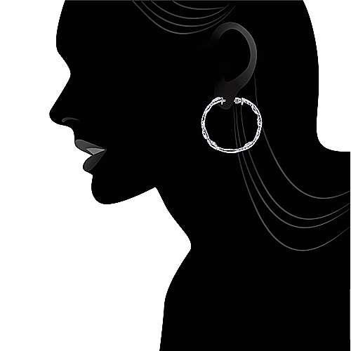 18k White Gold Silk Intricate Hoop Earrings angle 4