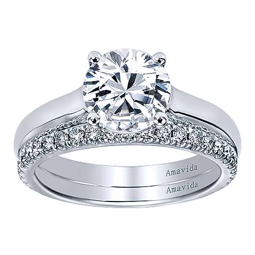 18k White Gold Solitaire Engagement Ring angle 4