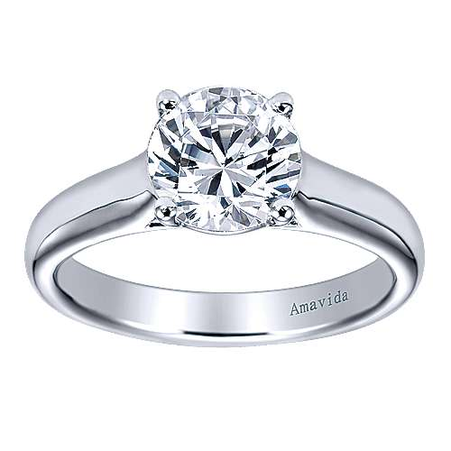 18k White Gold Solitaire Engagement Ring angle 5