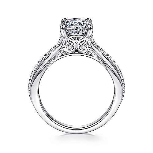 18k White Gold Split Shank Engagement Ring angle 2