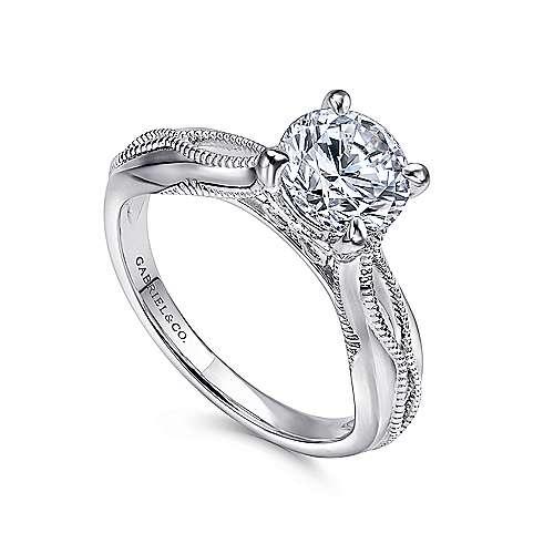 18k White Gold Split Shank Engagement Ring angle 3