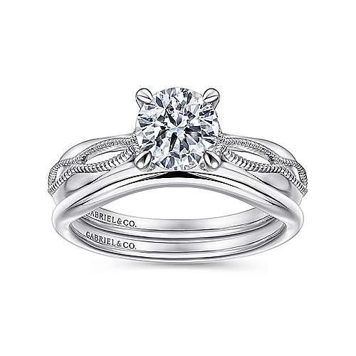 18k White Gold Split Shank Engagement Ring angle 4