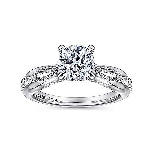 18k White Gold Split Shank Engagement Ring angle 5