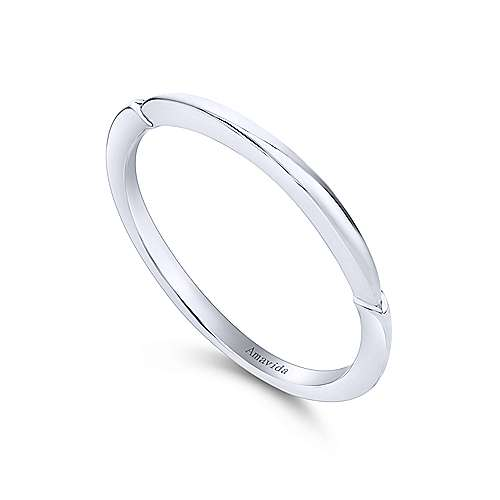 18k White Gold Straight Wedding Band angle 3