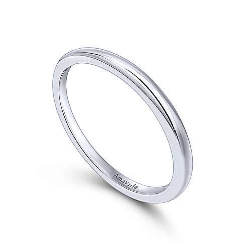 18k White Gold Straight Wedding Band angle 3