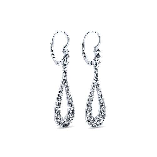 18k White Gold Teardrop Pave Diamond Drop Earrings angle 2