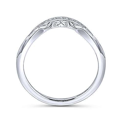 18k White Gold Victorian Curved Wedding Band