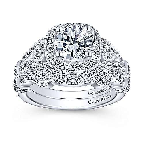18k White Gold Victorian Curved Wedding Band angle 4