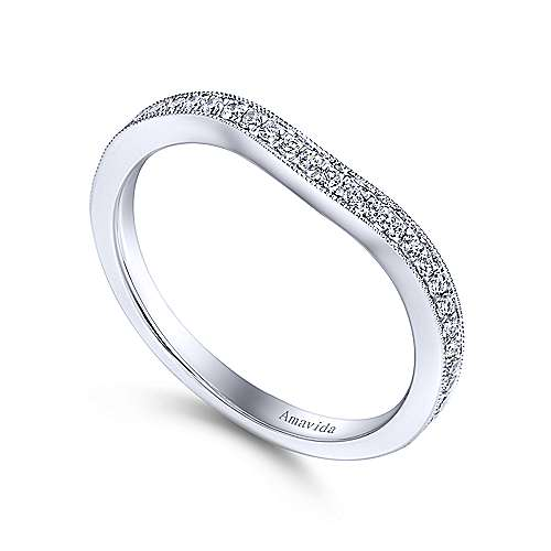 18k White Gold Victorian Curved Wedding Band angle 3