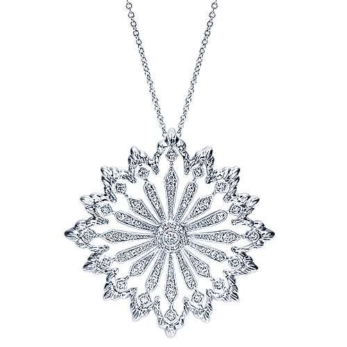 18k White Gold Victorian Fashion Necklace
