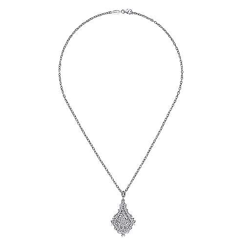 18k White Gold Victorian Fashion Necklace angle 2