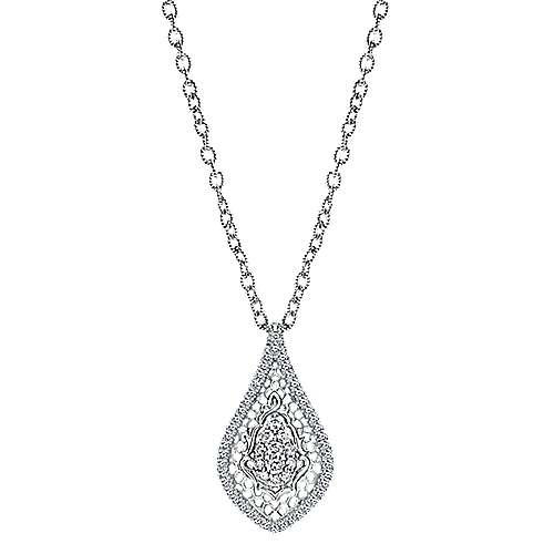 18k White Gold Victorian Fashion Necklace angle 1