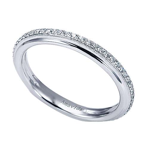 18k White Gold Victorian Straight Wedding Band