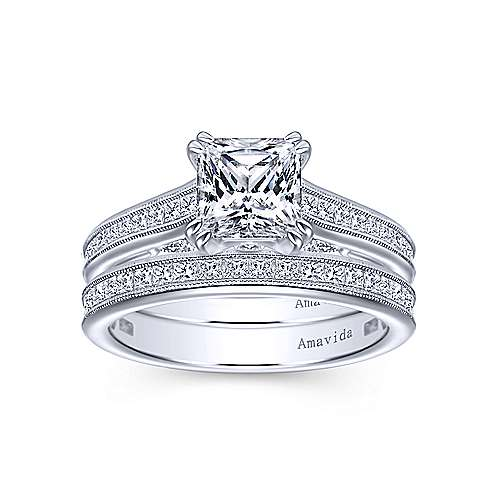 18k White Gold Victorian Straight Wedding Band angle 4