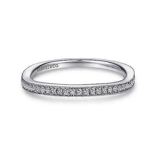 18k White Gold Victorian Straight Wedding Band angle 1
