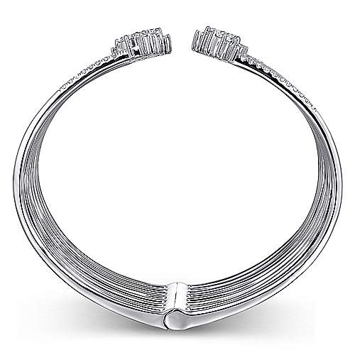 18k White Gold Waterfall Bangle angle 3