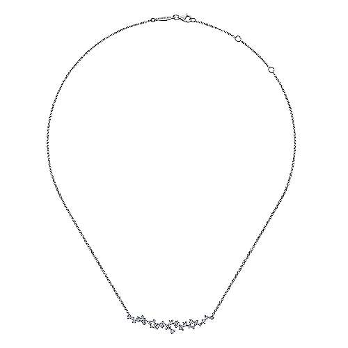 18k White Gold Waterfall Bar Necklace angle 2