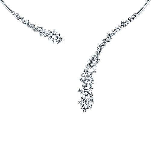 18k White Gold Waterfall Diamond Choker Necklace angle 1