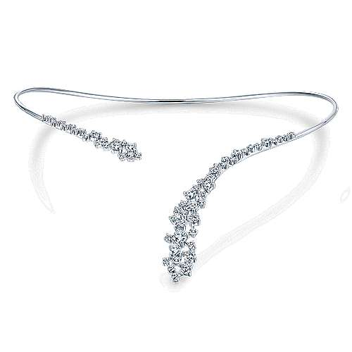 18k White Gold Waterfall Diamond Choker Necklace angle 3