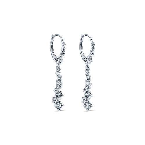18k White Gold Waterfall Drop Earrings angle 2