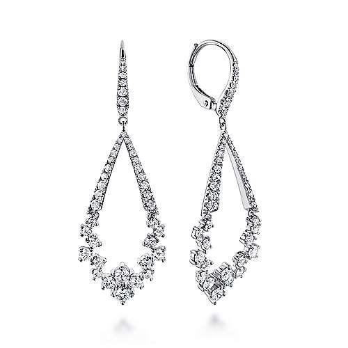 18k White Gold Waterfall Drop Earrings angle 1