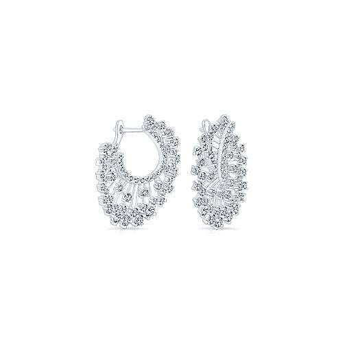 18k White Gold Waterfall Drop Earrings angle 2