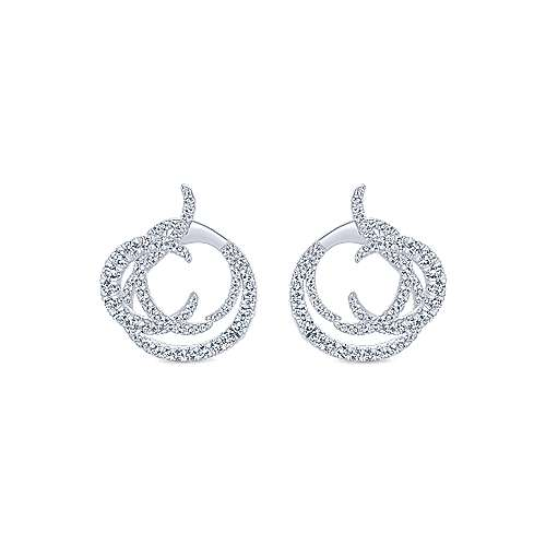 18k White Gold Waterfall Intricate Hoop Earrings