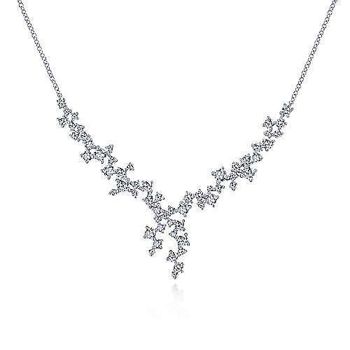 Gabriel - 18k White Gold Waterfall Lariat Diamond Necklace