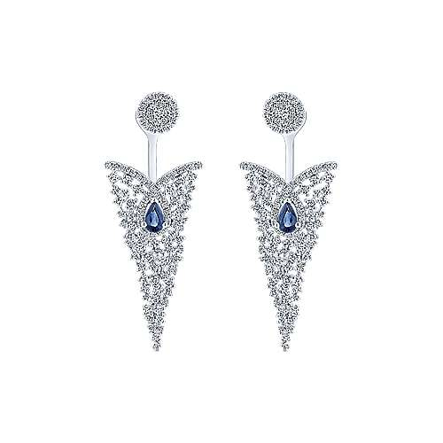 Gabriel - 18k White Gold Waterfall Peek A Boo Earrings