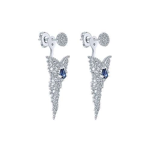 18k White Gold Waterfall Peek A Boo Earrings angle 2