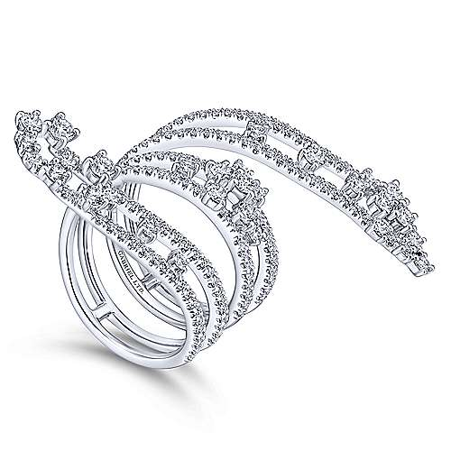 18k White Gold Waterfall Statement Ladies' Ring angle 3