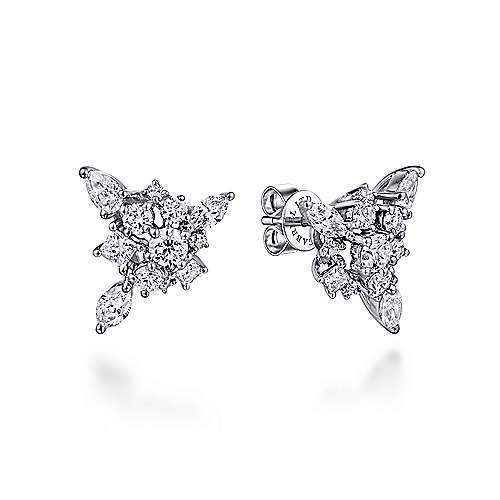 Gabriel - 18k White Gold Waterfall Stud Earrings
