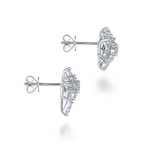 18k White Gold Waterfall Stud Earrings angle 3