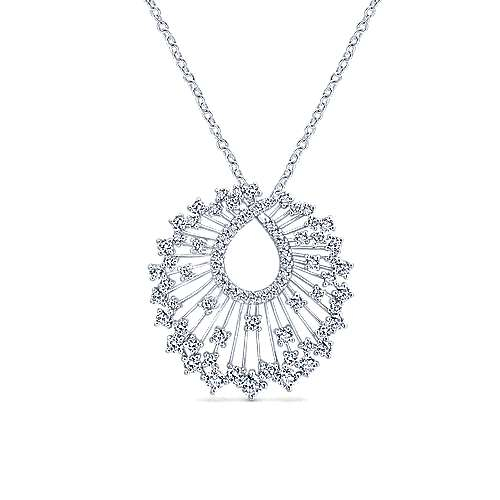 Gabriel - 18k White Gold Waterfall Swirl Diamond Necklace