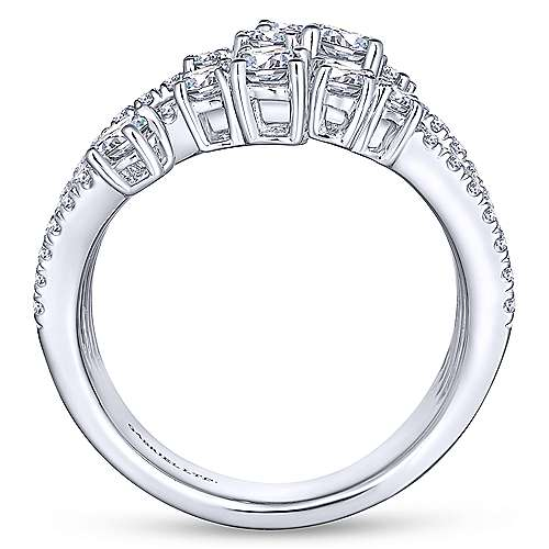 18k White Gold Waterfall Wide Band Ladies' Ring angle 2