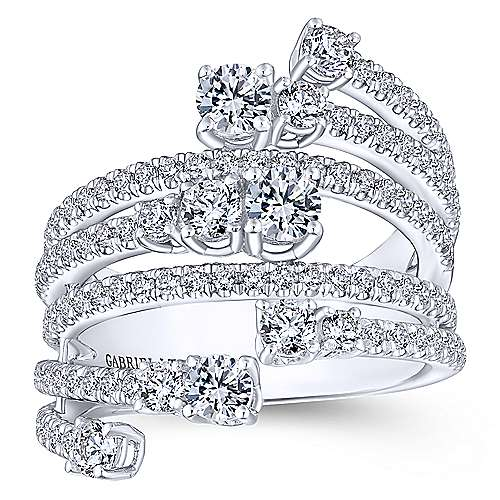 18k White Gold Waterfall Wide Band Ladies' Ring angle 4