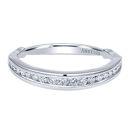 18k White Gold Wedding Band angle 1